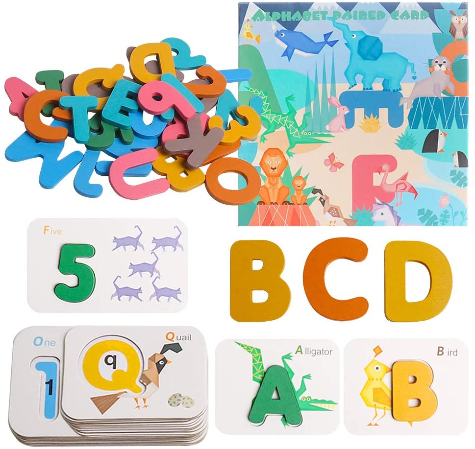 USATDD Alphabets and Numbers Flash Cards, ABC Wooden Letters Board Animal Matching Puzzle Colors Sorting Game, Preschool Learning Educational Montessori Toy Gift for Toddlers 3 4 5 6 Years Old Kids