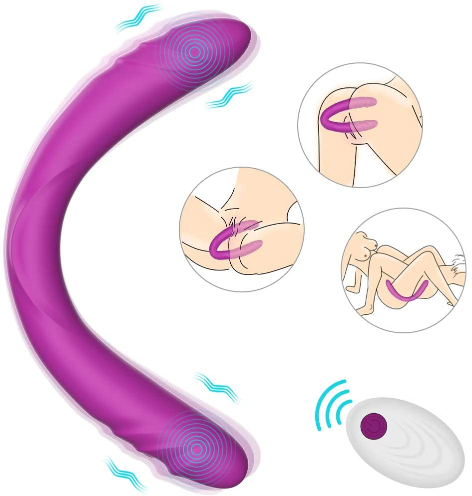 Realistic Double-Ended Vibrating G-spot Dildo Vibrator - Adorime 14.8Inch Strapless Dildo Wireless Silicone Massager for Women, Rechargeable Fake Penis Adult Sex Toys with 7 Vibrations