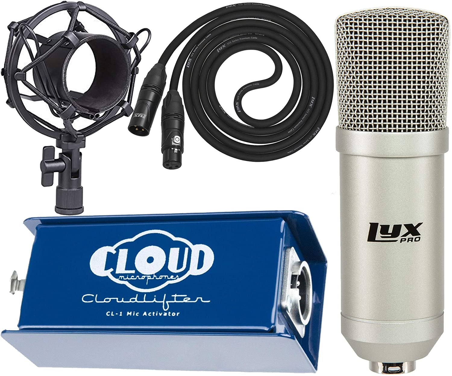 LyxPro Condenser Microphone for Studio, Vocals, Instruments, Podcasting and Professional Recordings with Cloud Cloudlifter CL-1 Microphone Activator/Preamplifier and Shockmount, XLR Cable,