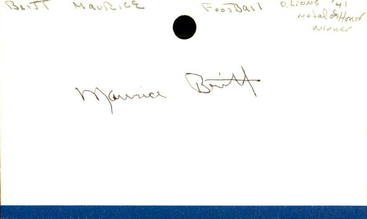 Maurice Britt Signed Index Card 3x5 Autographed Lions Arkansas Lt. Gov. 63648