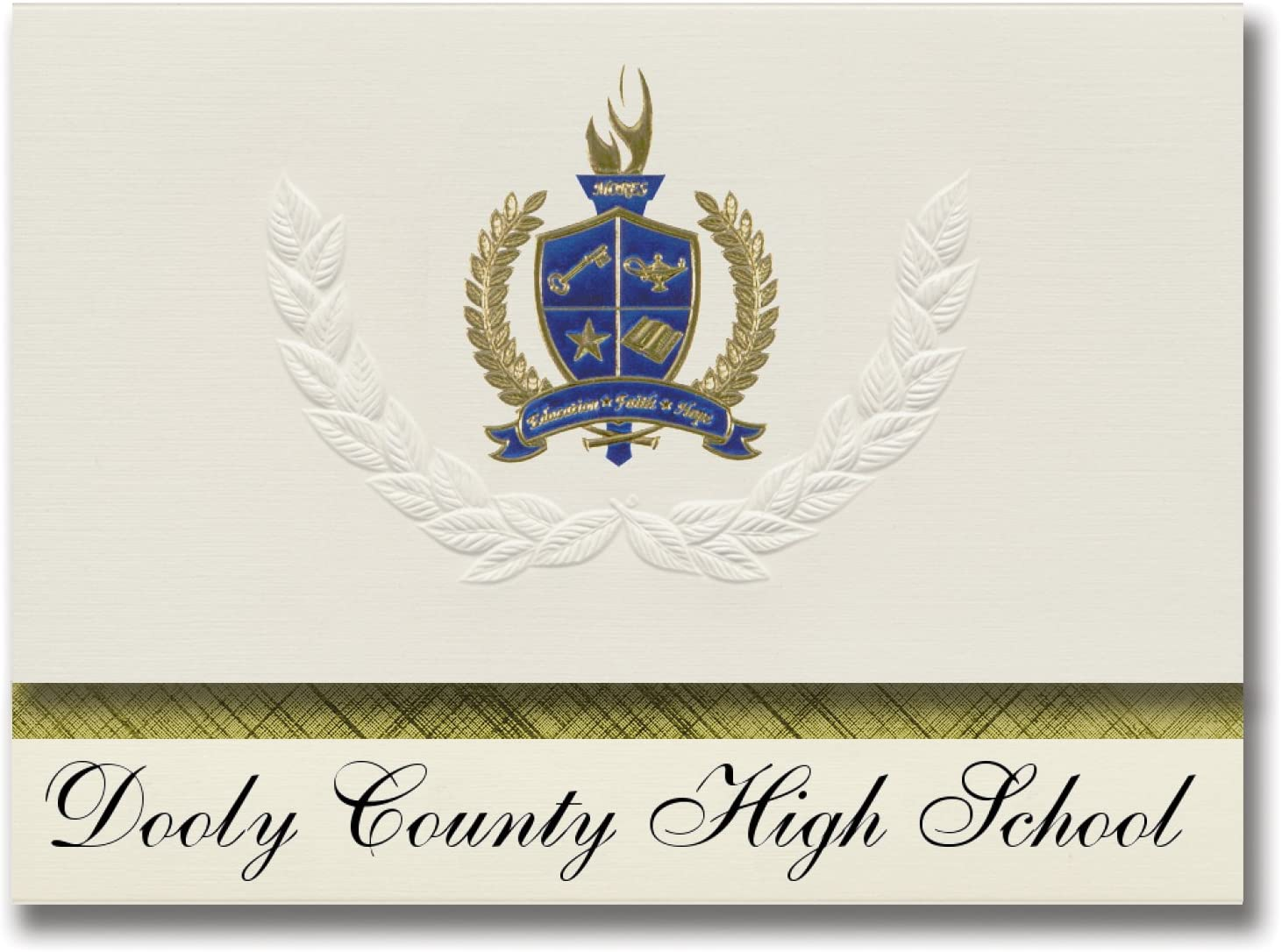 Signature Announcements Dooly County High School (Vienna, GA) Graduation Announcements, Presidential style, Elite package of 25 with Gold & Blue Metallic Foil seal