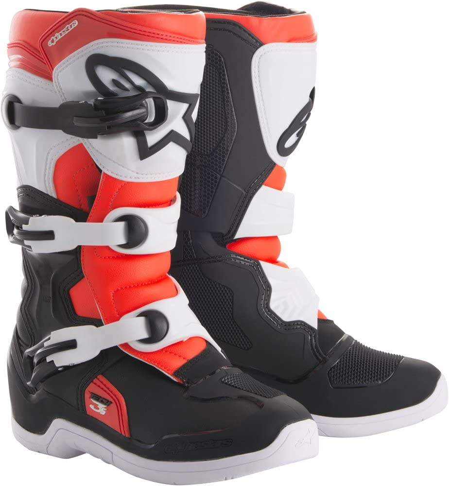 Alpinestars Tech 3S Youth Motocross Off-Road Motorcycle Boots, Black/White/Red, Size 1