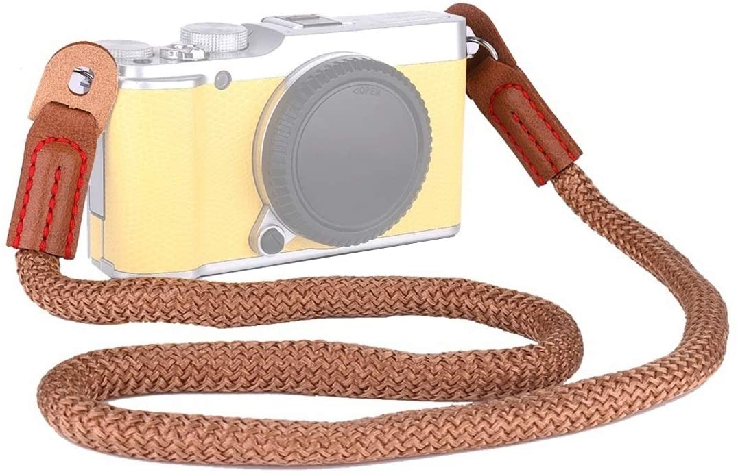 QGT Camera Accessories Vintage Cotton Soft Shoulder Neck Strap for Leica, Nikon, Fuji, Canon, Panasonic, Sony etc. Mini Cameras (Brown) (Color : Brown)
