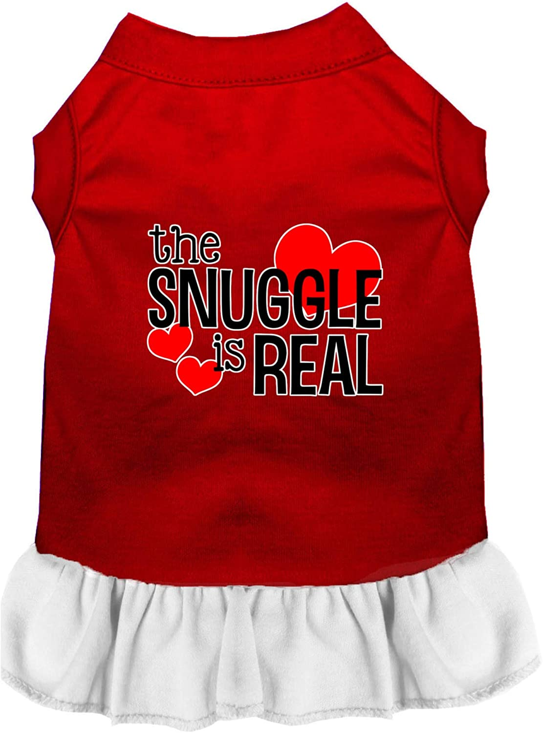 Mirage Pet Product The Snuggle is Real Screen Print Dog Dress Red with White XL