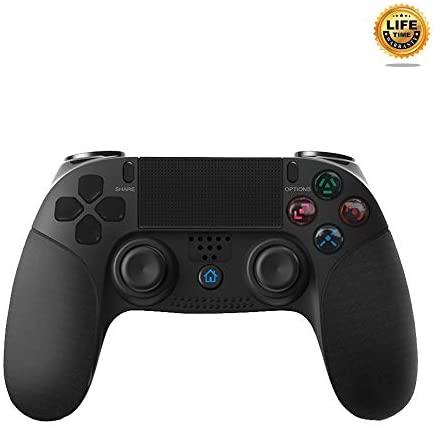 Wireless Controller for PS4 Playstation 4, New Model Dual Vibration Game Joystick Bluetooth Remote Gamepad Joystick (Black)