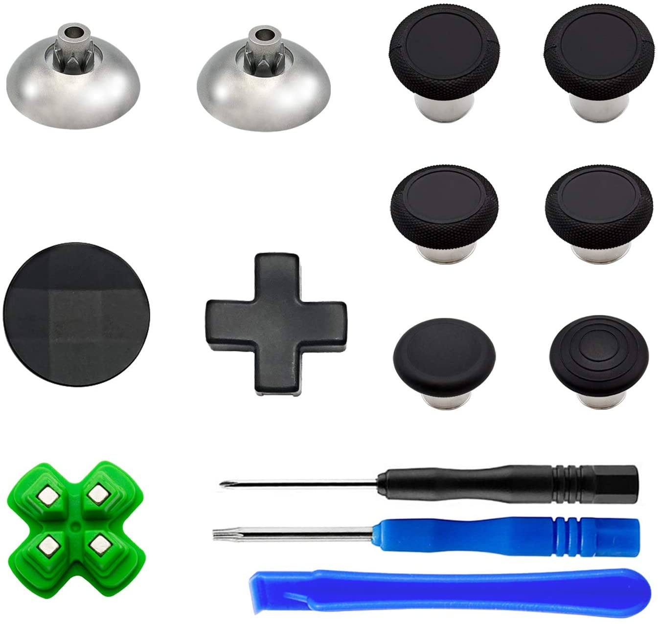 EASEGMER 11 pcs Metal Thumbsticks Magnetic Base D-Pads Replacement Parts, Swap Analog Joysticks Accessories Fit for PS4, Pro,Slim Controllers (Black)
