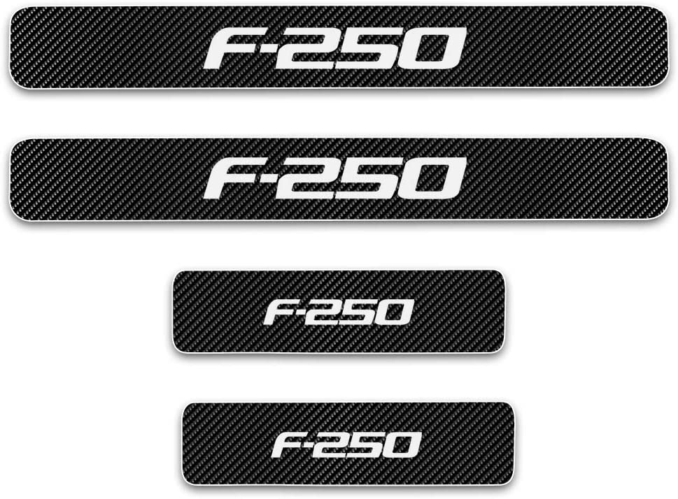 for Ford F250 Door Sill Protector Reflective 4D Carbon Fiber Sticker Door Entry Guard Door Sill Scuff Plate Stickers Auto Accessories 4Pcs White