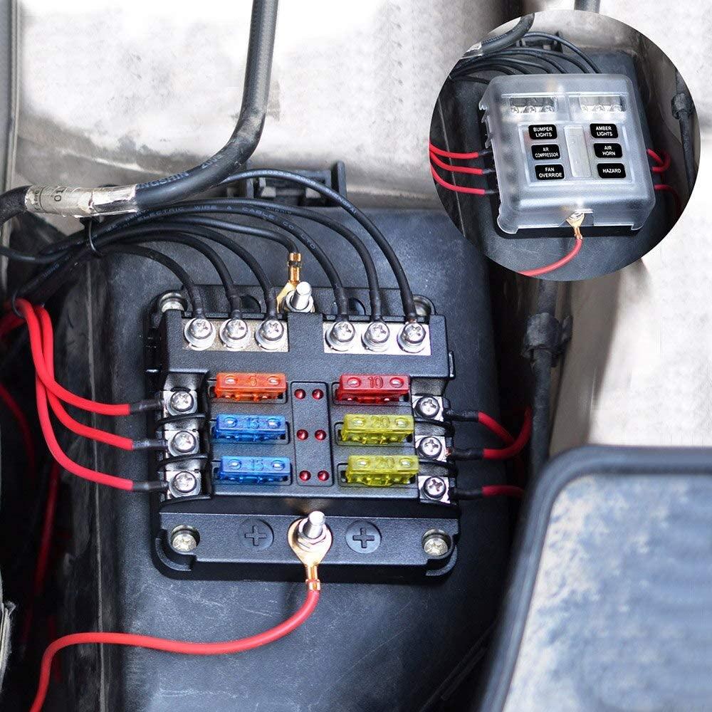 Alina-Shops - Universal Car Blade Fuse Box Automotive Circuit Fuse Block Holder DC32V 1-6 Way with LED Indicators