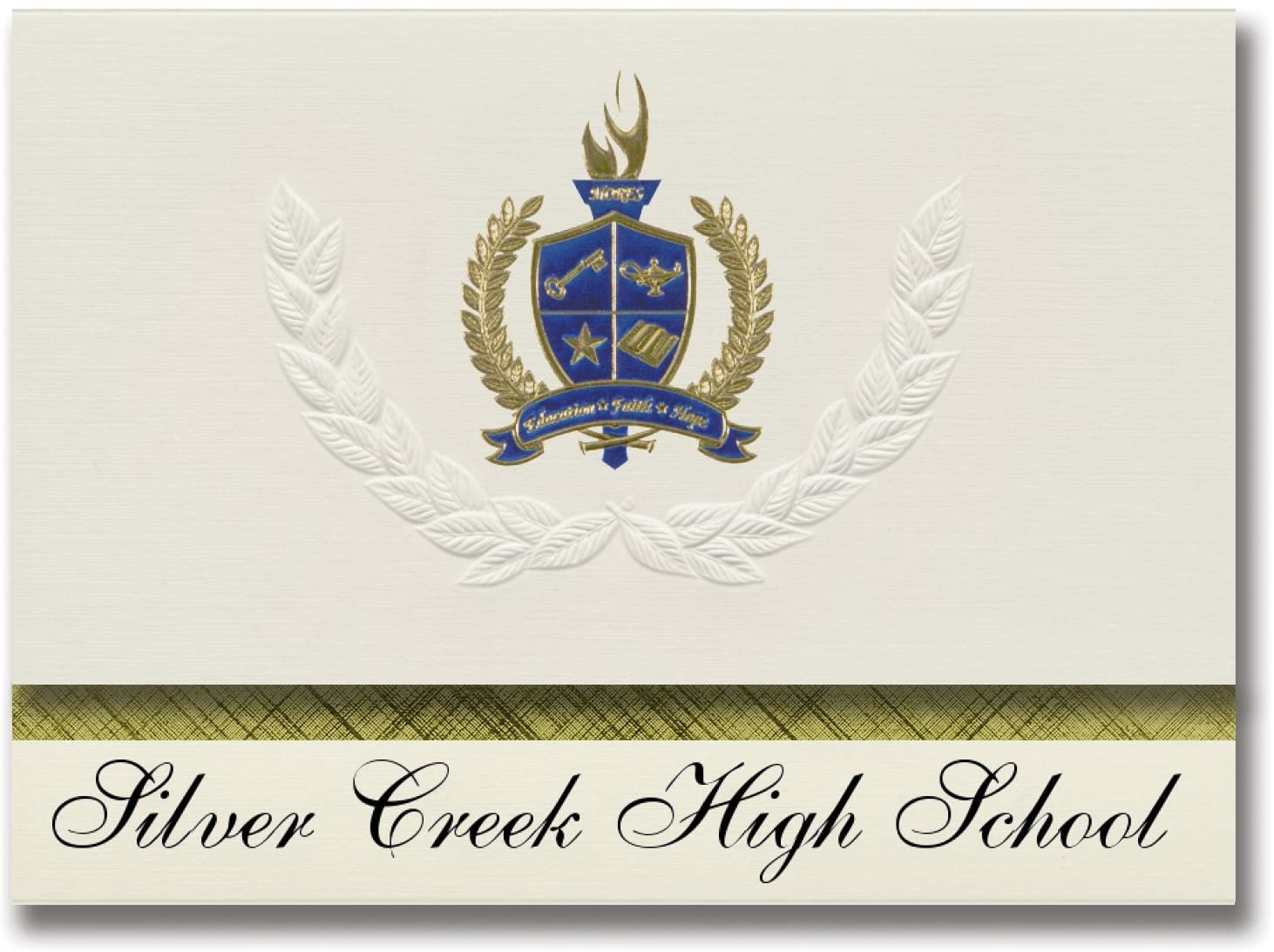 Signature Announcements Silver Creek High School (Hailey, ID) Graduation Announcements, Presidential style, Basic package of 25 with Gold & Blue Metallic Foil seal