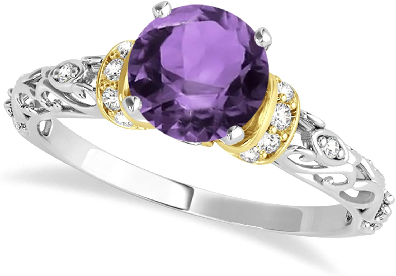 (1.12 ctw) 18k Two-Tone Gold Amethyst and Diamond Antique-Style Engagement Ring