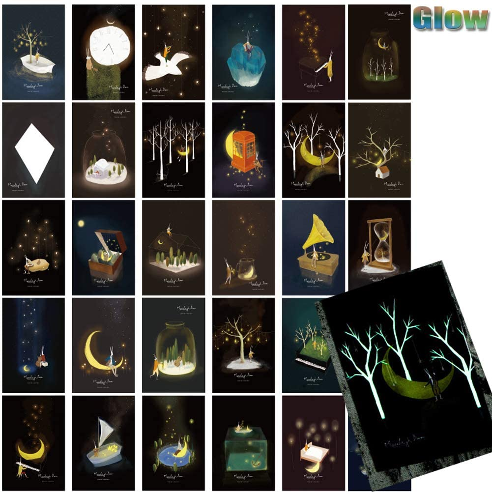Postcards 30 Count Glow in the Dark Postcard Self Mailer Postcards Mailing Side Travel Greeting Cards Famous Scenery Thanksgiving Traveling Cards Collection Postcards (Moon)