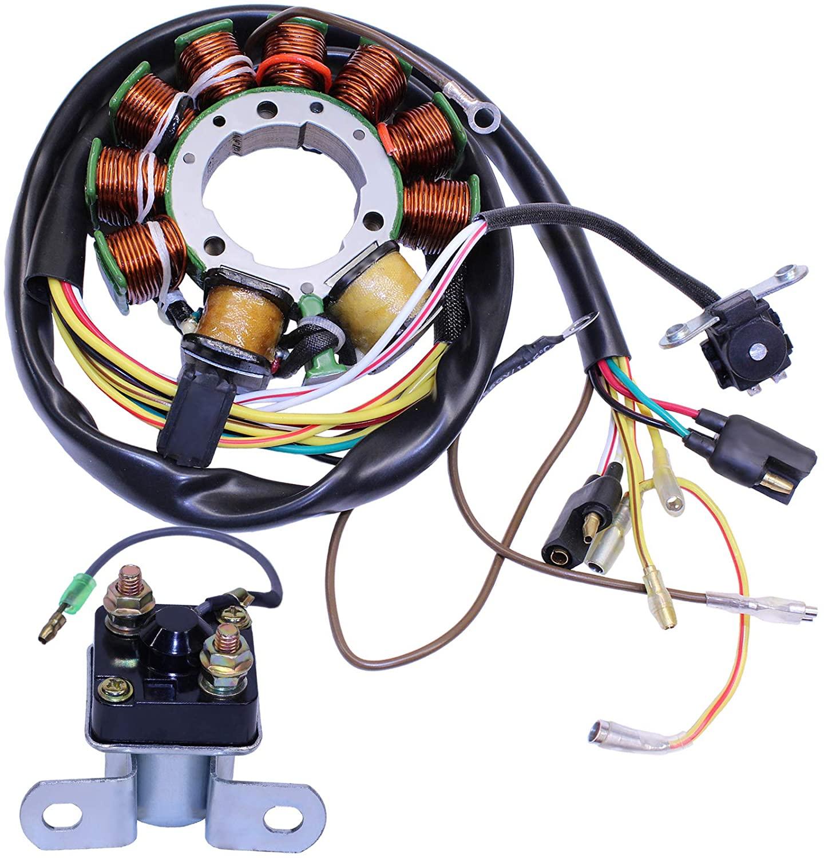 GLENPARTS Magneto Stator Starter Solenoid Relay for Polaris OEM 3084974, 3086239, 3086232