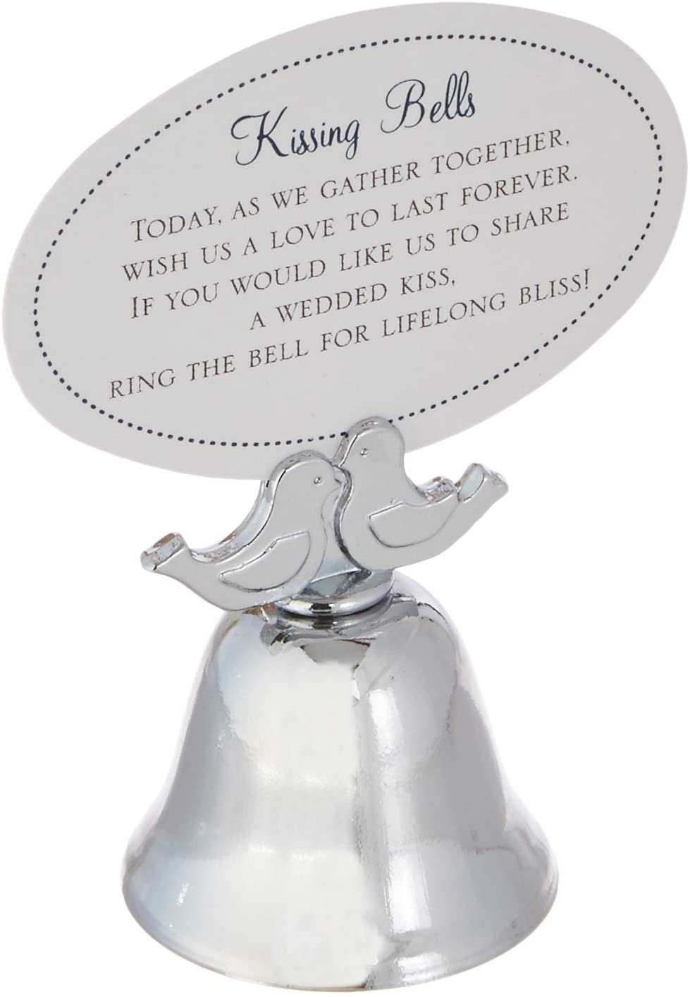 Kate Aspen Love Birds Kissing Bell Place Card Holder, Ringing Bells, Party Guest Favors/Gifts, Silver Finish, Set of 24