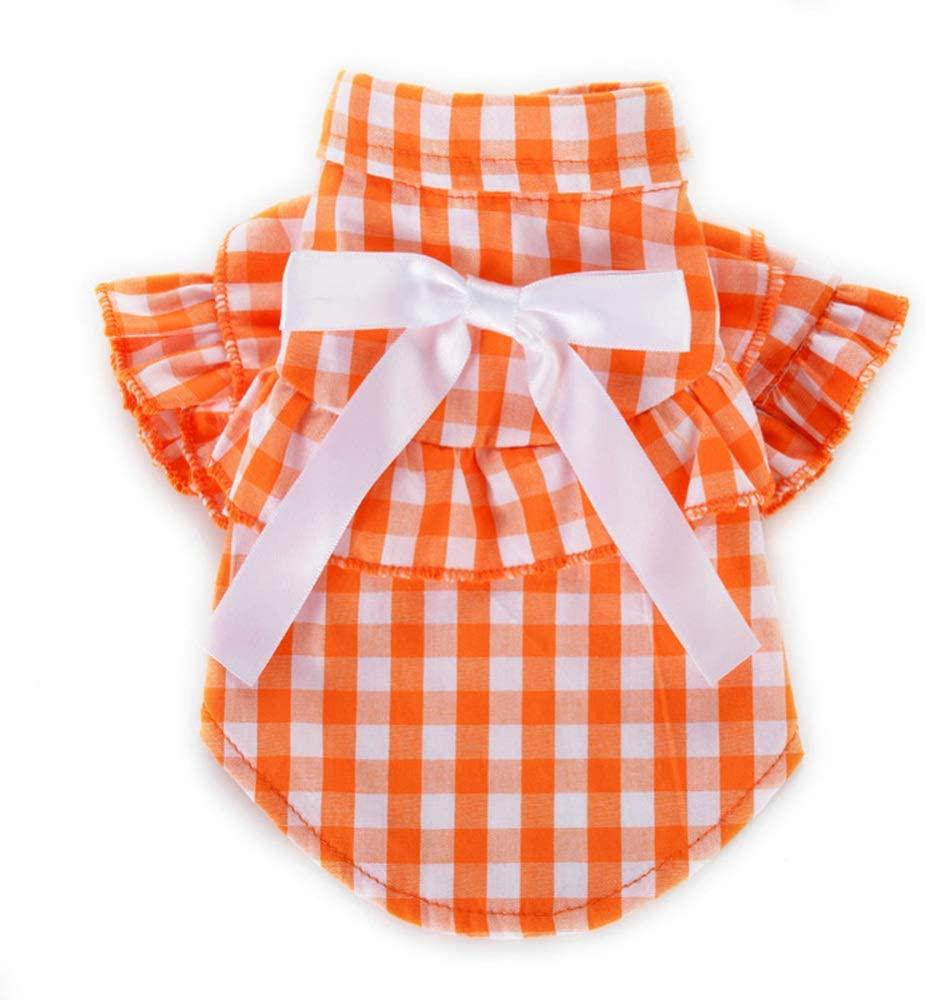 DSstyles Pet Spring Summer Cotton Clothing,Plaid Pattern Pet Dress for Cat Dog