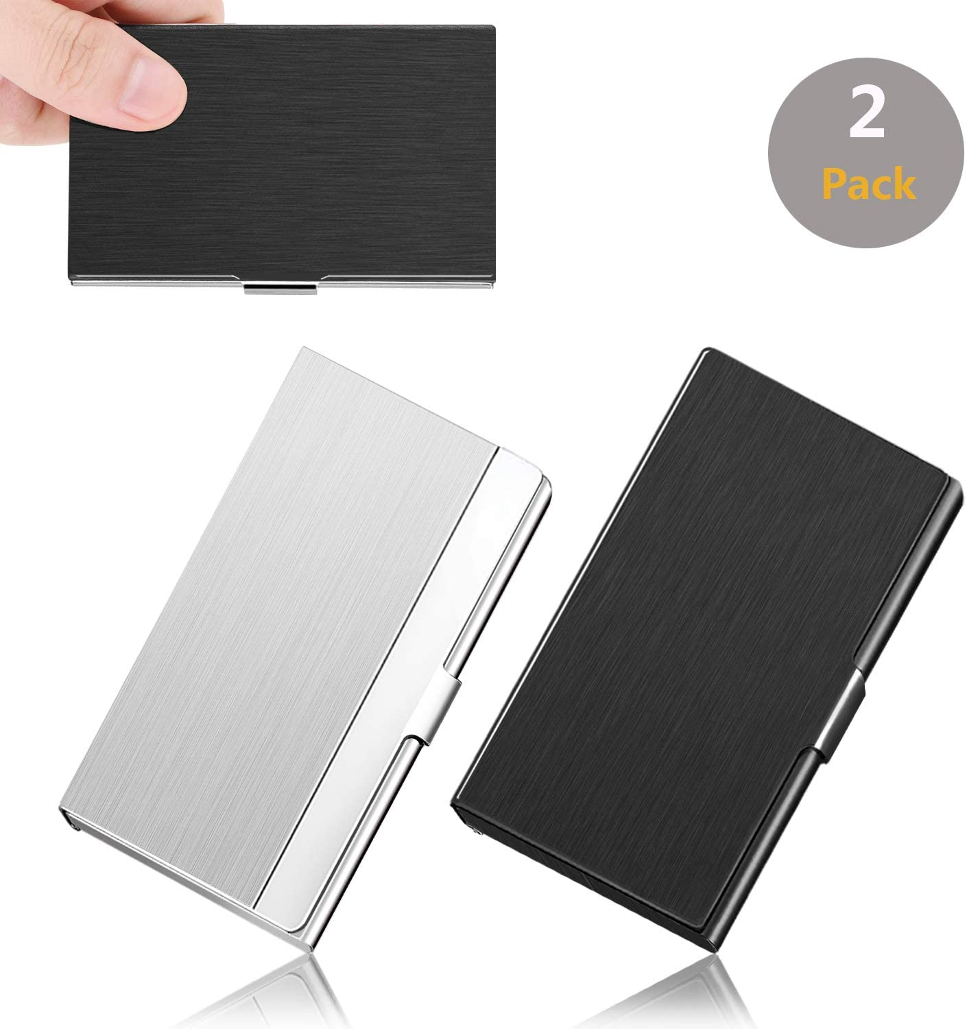 ASOFFI 2 Pack Professional Business Card Holder ID IC Cards Storage Case (Black+Silver)