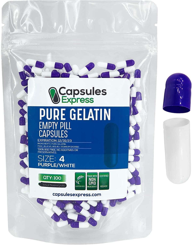 Capsules Express- Size 4 Purple and White Empty Gelatin Capsules - Kosher - Pure Gelatin Pill Capsule - DIY Powder Filling (100)