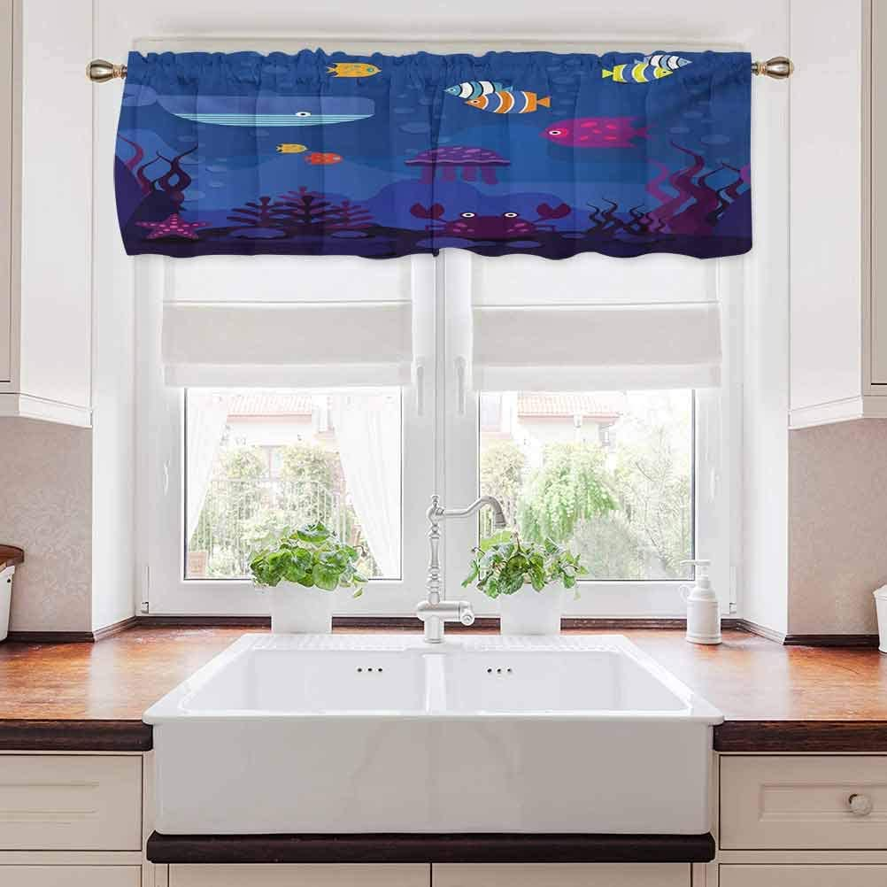 Cartoon Valance Curtains, Underwater World Fish in Aquarium and Whale Crabs Jellyfish Bubbles Coral, 56