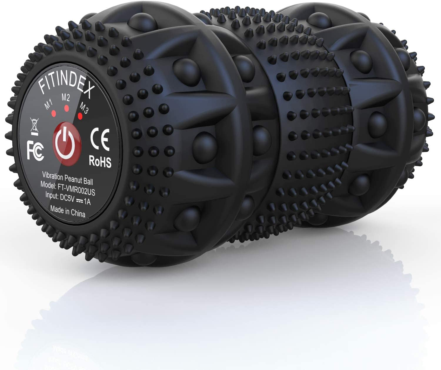 FITINDEX Electric Massage Ball, Vibrating Massage Ball 4-Speed Intensity for Deep Tissue Massage Therapy, Fitness Yoga Massage Roller Ball Rechargeable for Pain Relief Muscle Recovery