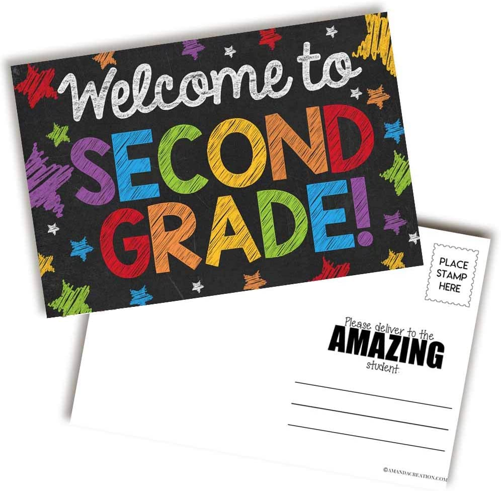 Welcome To 2nd Grade Colorful Chalkboard Themed Blank Postcards For Teachers To Send To Students, 4
