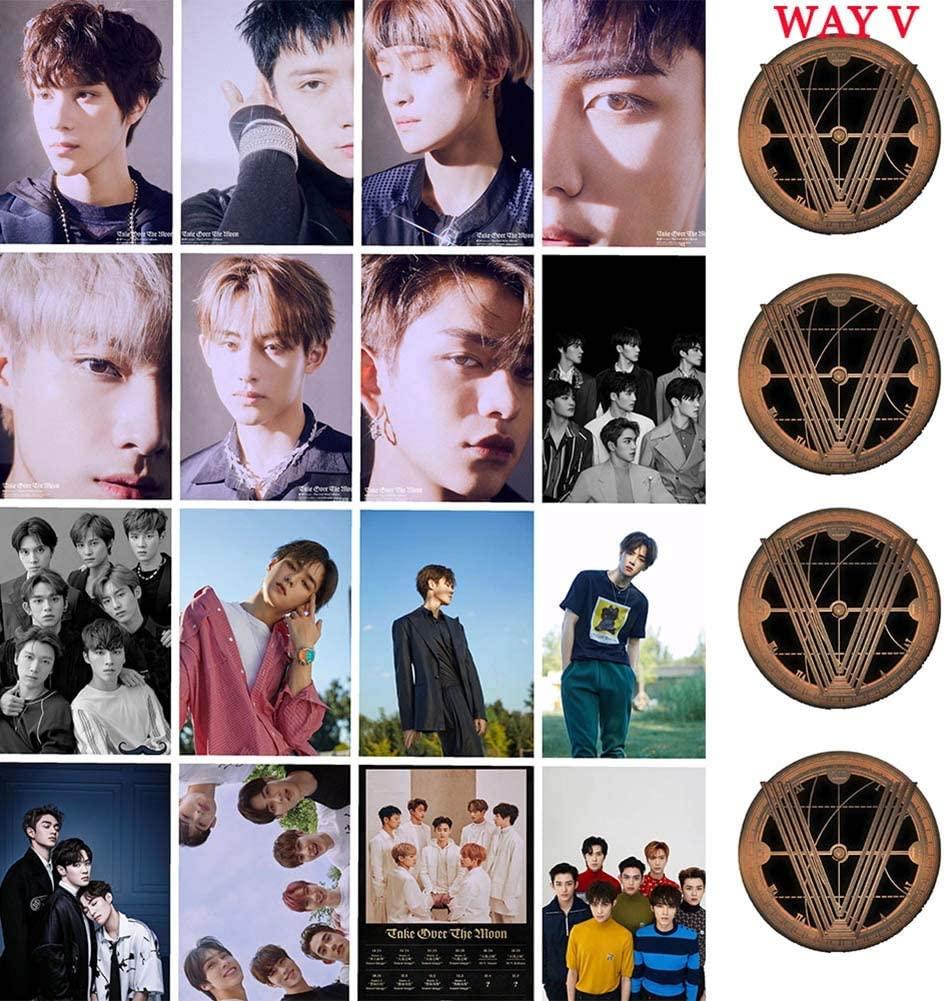 Heyu-Lotus Kpop Monsta X TXT IZONE Stray Kids Stray Kids NU'EST Photo Card PhotoBook Poster Lomo Cards Gift for Fans(WayV)