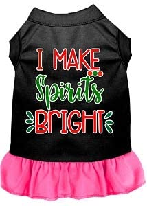 Mirage Pet Product I Make Spirits Bright Screen Print Dog Dress Black with Bright Pink XS