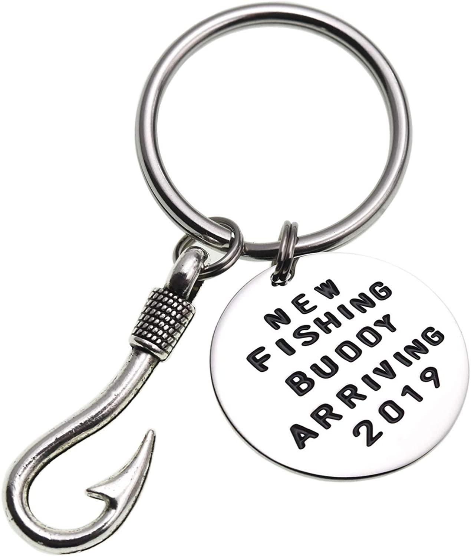 LSL Pregnancy Announcement Gift Keychain-Pregnancy Announcement Gift New Fishing Buddy Arriving 2019