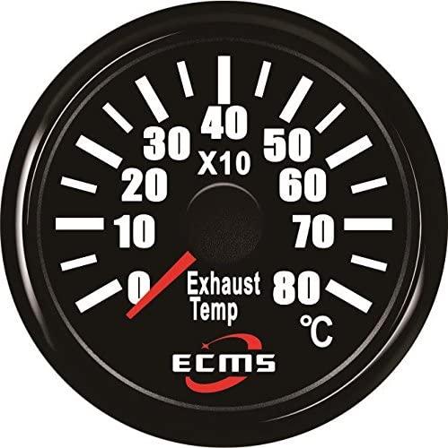 ECMS Marine Boat RV Automotive Exhaust Thermometer Temp Gauge with Sensor 9-32V 52mm 0-800℃ 316L Black Bezel Black Dial 800-00250