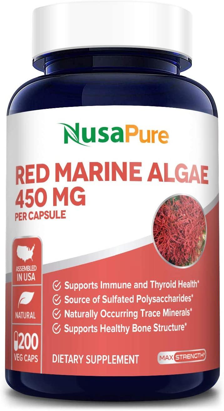 Red Marine Algae 450mg 200 Vegetarian Capsules (Non-GMO & Gluten Free) Supports Joint, Cardiovascular, & Digestive Health, Healthy Immune, Natural Multivitamin