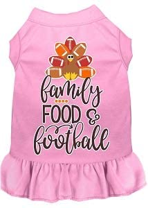 Mirage Pet Product Family, Food, and Football Screen Print Dog Dress Light Pink XXXL