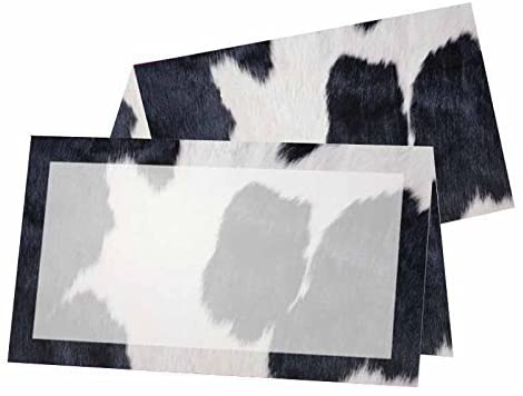 Full Cow Print with Border Place Cards - Tent Style - Placement Table Name Seating Stationery Party Supplies - Any Occasion or Event - Dinner Food Display - Product Tag Label Set