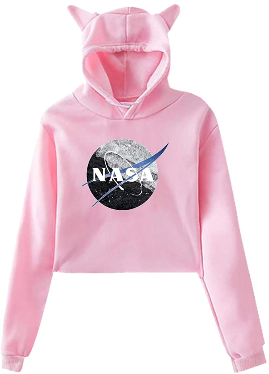 ZHUYOUDAO Women's NASA Logo Long Sleeve Crop Top Hoodie Pink Sweatshirt