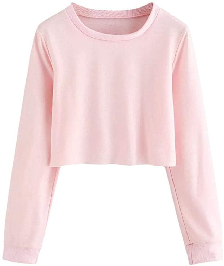 terbklf Womens Long Sleeve O Neck Solid Sweatshirt Pullover Tops Blouse