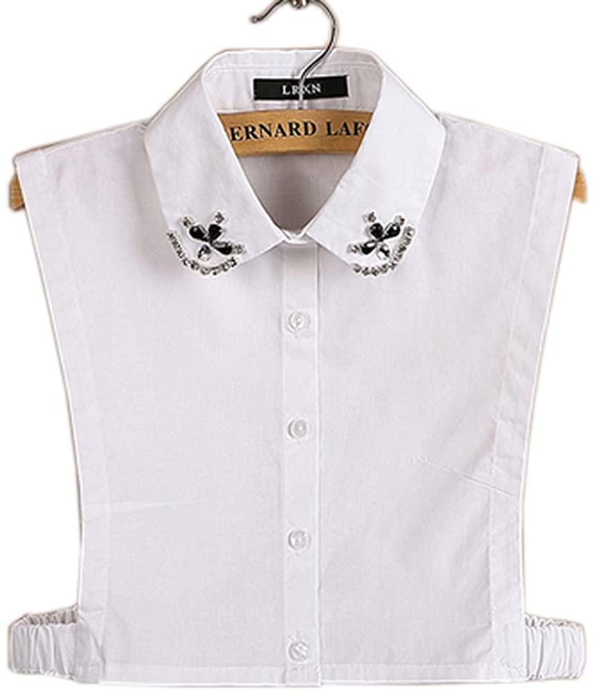 Simple Stylish Detachable Collar Fake Shirt Collar All-Purpose Accessory for Women, E White
