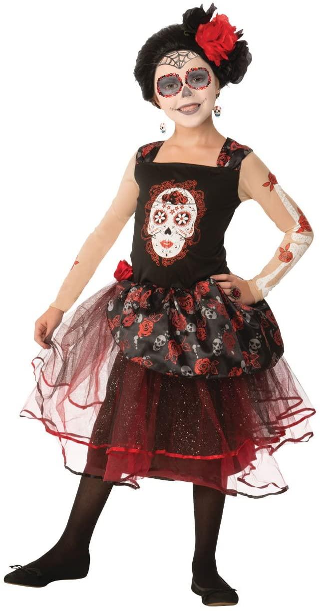 Forum Novelties Kids Day Of The Dead Rosa Senorita Costume, Multicolor, Small
