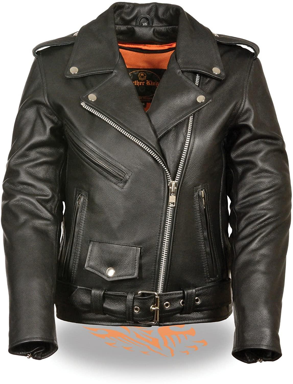 Women's Motorcycle Classic Terminator Style Leather Jacket W/Belt GUNPOCKET (L Regular)