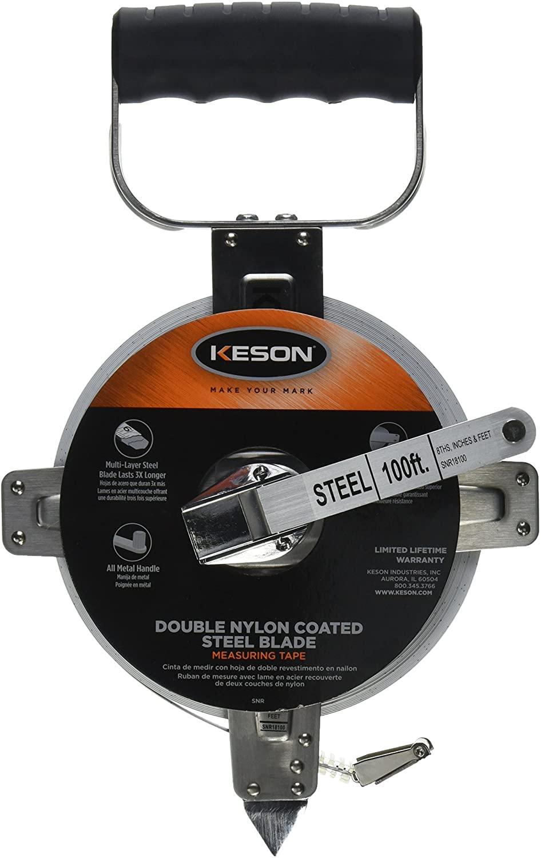 Keson SNR18100 Nylon-Reinforced Steel Blade Tape Measure, Stainless Steel Housing with Hook End (Graduations: ft., in., 1/8), 100-Foot