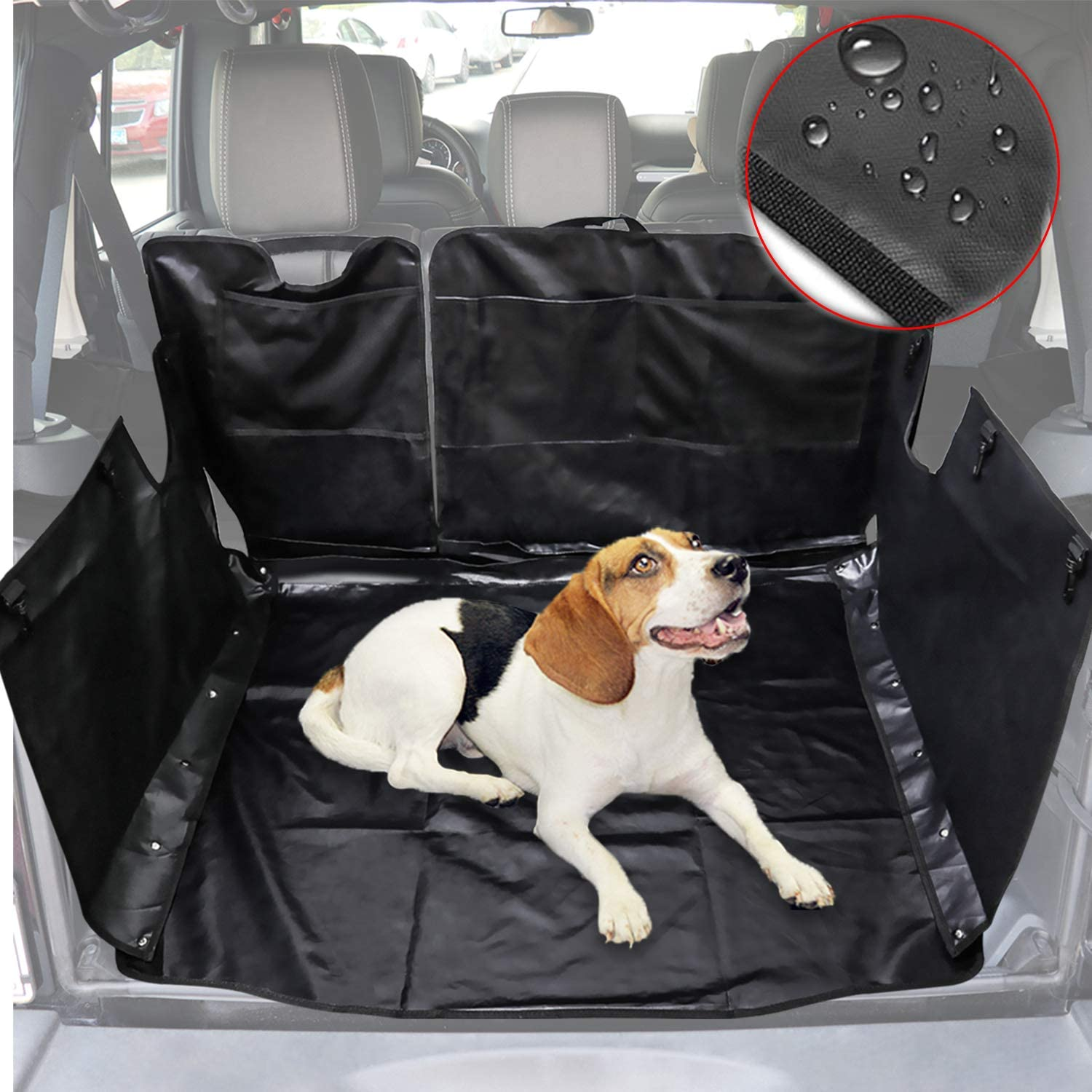 Camoo for Jeep Wrangler JL Waterproof Pets Seat Cover Dog/Cat Safety Mat Washable Rear Storage Cargo Liners Fits Jeep Wrangler JL JLU 4 Door 2018-2020