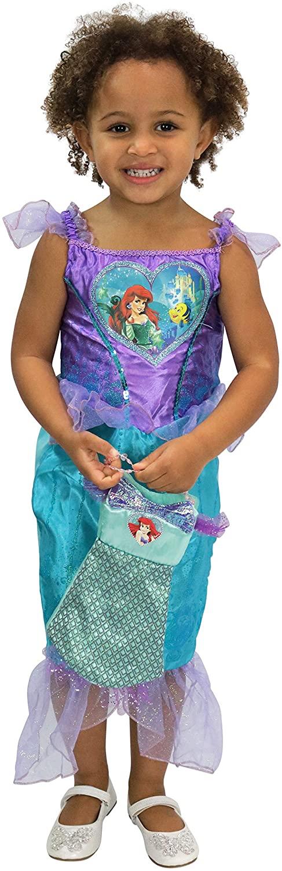 Disney Girls The Little Mermaid Ariel Dress Up Costume with Bag Size 6 Purple