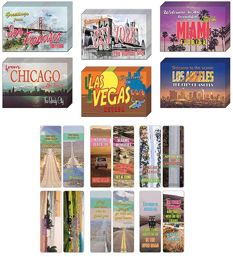 Creanoso Travel Sayings Inspirational Bookmarks Postcards Bundle of 2 Set