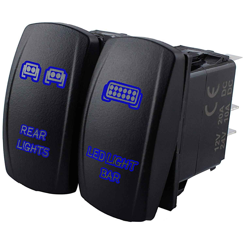 LED Light Bar Rocker Switch for UTV Polaris Ranger RZR 800-1000 XP Turbo Can Am Commander 800 Maverick X3 Accessories-ON-Off LED Light, 20A 12V 5 Pin Toggle Rocker Switch Kit(Blue)