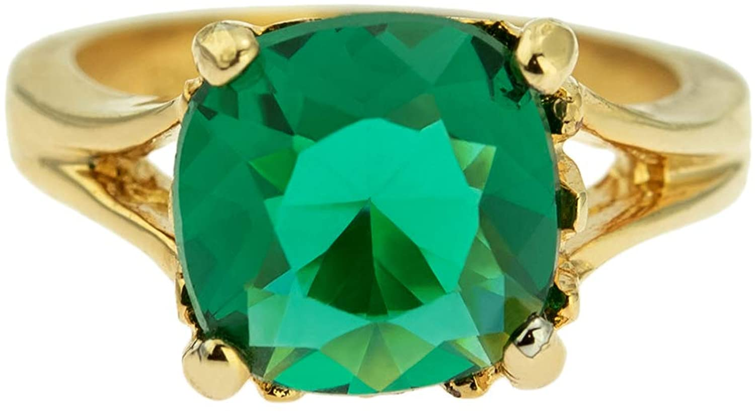 Providence Vintage Jewelry Emerald Swarovski Crystal 18k Gold Plated Ring