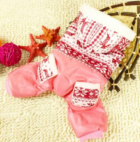 SMALLLEE_LUCKY_STORE Pet Snowflake Joint Four Legs Cotton Padded Coat