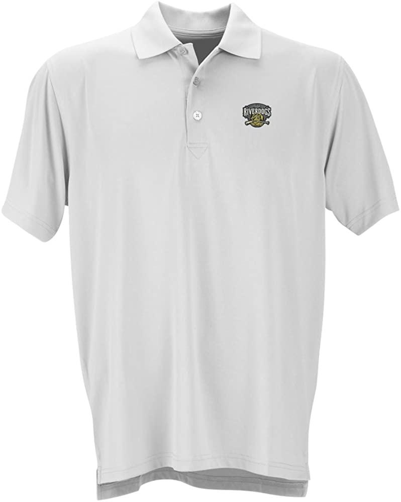 Vantage Apparel Minor League Baseball Charleston Riverdogs Men's Performance Mesh Polo Shirt, X-Large, White
