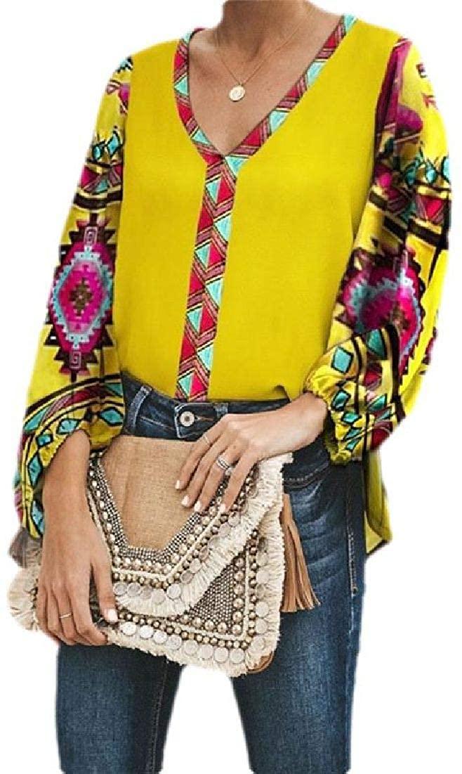 CRYYU Women Chiffon Ethnic Style Print V Neck Long Sleeve Shirt
