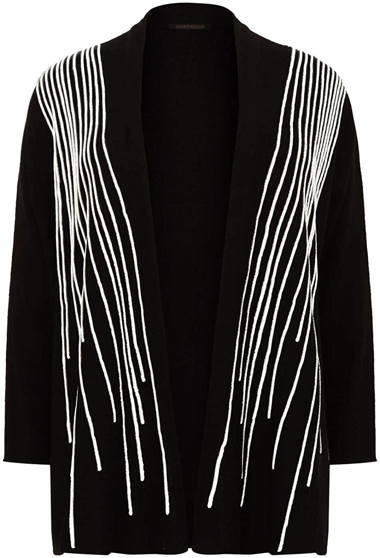 Marina Rinaldi Women's Marcella Virgin Wool Cardigan, Black, Medium
