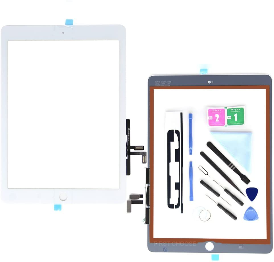 White Digitizer for iPad 9.7 (A1822, A1823)/Ipad 5 Ipad Air 1st Touch Screen Digitizer - Front Glass Replacement with Tool Repair Kits + Adhesive