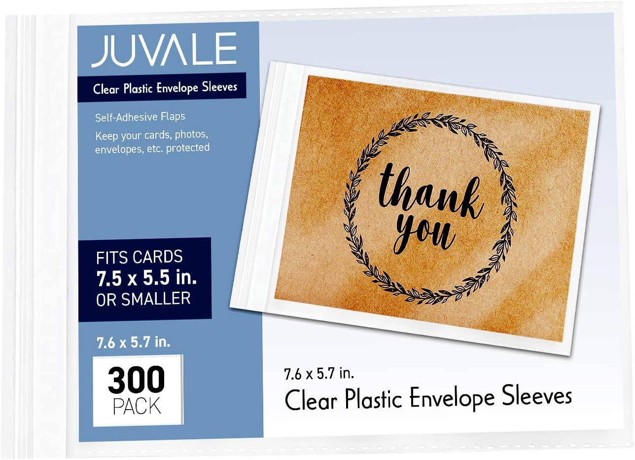 Juvale 300-Pack Clear Plastic Envelope Bags, Greeting Card Sleeves, 7.5 x 5.5 Inches