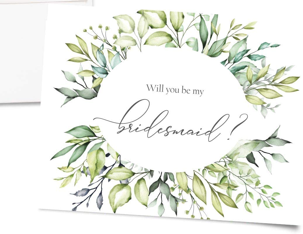Greenery Will You Be My Bridesmaid Cards, Set of 10, Includes 5 Bridesmaid Cards, Matron of Honor Card, Maid of Honor Card, Flower Girl Card with Envelopes and Seals