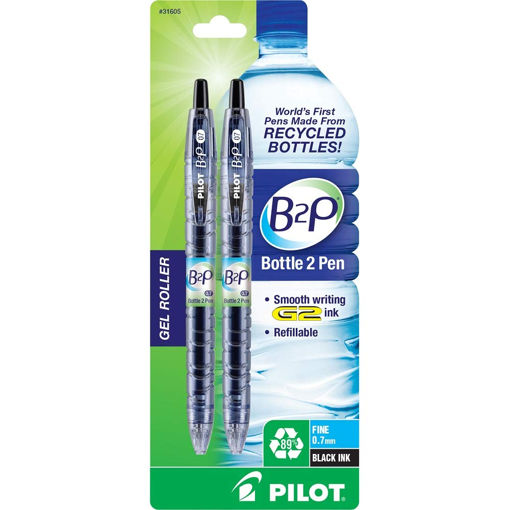Pilot 31605 Black Bottle 2 Pen Fine Point Retractable Gel Roller Pen 2Ct