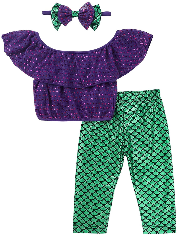 MSemis Toddler Girls Shiny Mermaid Outfit Ruffles Crop Top with Legging Pants Halloween Birthday Princess Suit